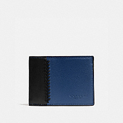 SLIM BILLFOLD ID WALLET IN BASEBALL STITCH LEATHER - f75178 - INDIGO/BLACK