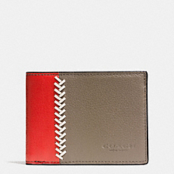 COACH F75178 Slim Billfold Id Wallet In Baseball Stitch Leather FOG