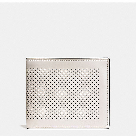 COACH f75197 COMPACT ID WALLET IN PERFORATED LEATHER CHALK/BLACK