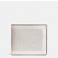 COMPACT ID WALLET IN PERFORATED LEATHER - f75197 - CHALK/BLACK