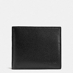 COACH F75206 Double Billfold Wallet In Crossgrain Leather BLACK