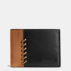 COACH F75212 Rip And Repair Slim Billfold Wallet In Sport Calf Leather BLACK/SADDLE