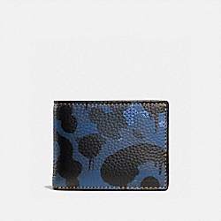 SLIM BILLFOLD WALLET WITH WILD BEAST CAMO PRINT - COACH F75220 - DENIM WILD BEAST/YELLOW