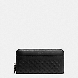 COACH F75222 Accordion Wallet In Perforated Leather BLACK