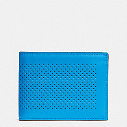 COACH F75227 - SLIM BILLFOLD ID WALLET IN PERFORATED LEATHER AZURE