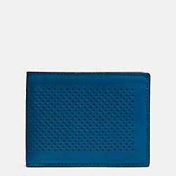 COACH F75227 Slim Billfold Id Wallet In Perforated Leather DENIM
