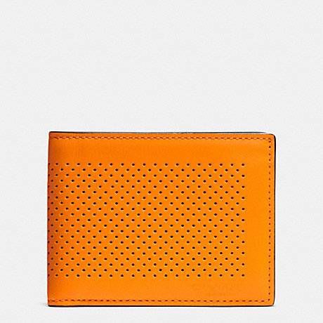 COACH f75227 SLIM BILLFOLD ID WALLET IN PERFORATED LEATHER ORANGE/GRAPHITE