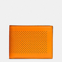 COACH F75227 - SLIM BILLFOLD ID WALLET IN PERFORATED LEATHER ORANGE/GRAPHITE