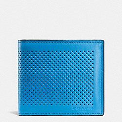 COACH F75278 Double Billfold Wallet In Perforated Leather AZURE