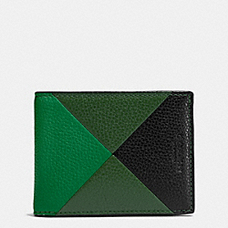 COACH F75285 Slim Billfold Wallet In Patchwork Pebble Leather GRASS