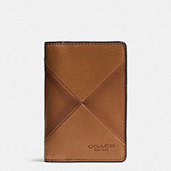 COACH F75286 Card Wallet In Patchwork Sport Calf Leather SADDLE