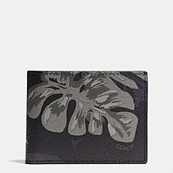 COACH F75294 Slim Billfold Wallet In Tropical Print Coated Canvas HAWAIIAN PALM