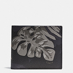 COACH F75296 Compact Id  Wallet In Tropical Print Coated Canvas HAWAIIAN PALM