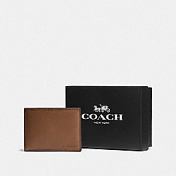 COACH F75305 - BOXED SLIM BILLFOLD ID WALLET SADDLE