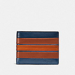 COACH F75308 Slim Billfold Wallet With Varsity Stripe INDIGO/TERRACOTA