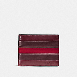 COACH F75308 - SLIM BILLFOLD WALLET WITH VARSITY STRIPE BRICK RED/OXBLOOD/CHERRY