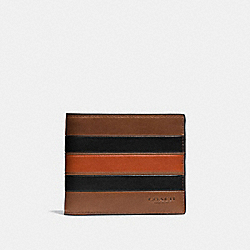 3-IN-1 WALLET WITH VARSITY STRIPE - F75331 - DARK SADDLE/BLACK