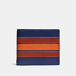 3-IN-1 WALLET WITH VARSITY STRIPE - F75331 - INDIGO/TERRACOTA