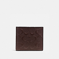 COACH F75363 - COIN WALLET IN SIGNATURE CROSSGRAIN LEATHER MAHOGANY