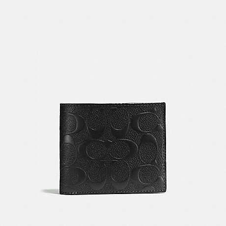 COACH COMPACT ID WALLET IN SIGNATURE CROSSGRAIN LEATHER,F75371 BLACK