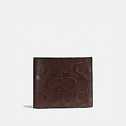 COACH F75371 Compact Id Wallet In Signature Crossgrain Leather MAHOGANY