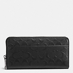 COACH F75372 - ACCORDION WALLET IN SIGNATURE CROSSGRAIN LEATHER BLACK