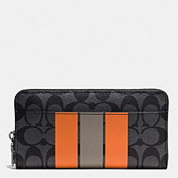 COACH F75381 - ACCORDION WALLET IN VARSITY SIGNATURE CHARCOAL/ORANGE