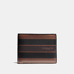 COACH F75386 Slim Billfold Wallet In Varsity Leather DARK SADDLE/BLACK/MAHOGANY