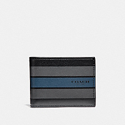 COACH F75386 Slim Billfold Wallet In Varsity Leather BLACK/GRAPHITE/DARK DENIM