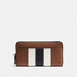 ACCORDION WALLET IN VARSITY LEATHER - f75395 - DARK SADDLE