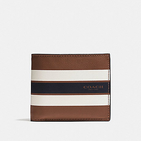 6f82736a0044b COACH F75399 - COMPACT ID WALLET IN VARSITY LEATHER - DARK SADDLE ...