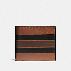 COMPACT ID WALLET IN VARSITY LEATHER - f75399 - DARK SADDLE/BLACK/MAHOGANY