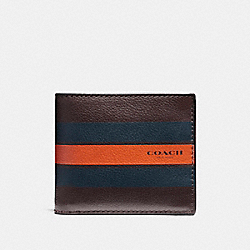 COMPACT ID WALLET IN VARSITY LEATHER - f75399 - OXBLOOD/MIDNIGHT NAVY/CORAL
