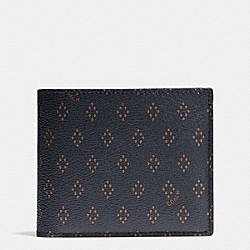 COACH F75404 Compact Id Wallet In Foulard Print Coated Canvas DIAMOND FOULARD