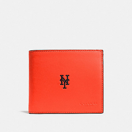 COACH f75433 MLB COMPACT ID WALLET IN SPORT CALF LEATHER NY METS