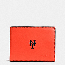 COACH F75435 Mlb Slim Billfold Wallet NY METS