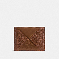 SLIM BILLFOLD WALLET IN PATCHWORK LEATHER - f75451 - DARK SADDLE