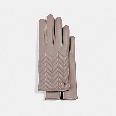COACH F75542 SCULPTED SIGNATURE QUILTED LEATHER TECH GLOVES GREY BIRCH