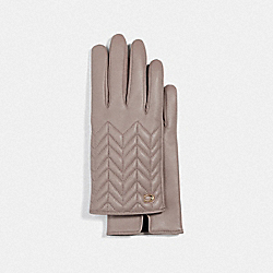 COACH F75542 - SCULPTED SIGNATURE QUILTED LEATHER TECH GLOVES GREY BIRCH