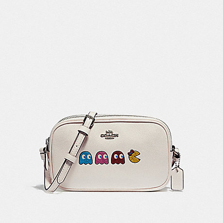 COACH F75599 CROSSBODY POUCH WITH MS. PAC-MAN ANIMATION CHALK MULTI/SILVER