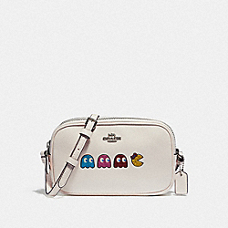 CROSSBODY POUCH WITH MS. PAC-MAN ANIMATION - F75599 - CHALK MULTI/SILVER