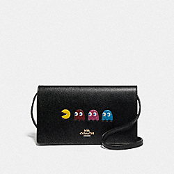 HAYDEN FOLDOVER CROSSBODY CLUTCH WITH PAC-MAN ANIMATION - F75605 - BLACK/MULTI/GOLD