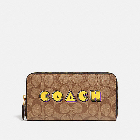 COACH F75614 ACCORDION ZIP WALLET IN SIGNATURE CANVAS WITH PAC-MAN COACH PRINT KHAKI MULTI /GOLD