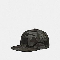 COACH F75704 Camo Print Flat Brim Hat GREEN MULTI CAMO