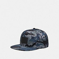 COACH F75704 Camo Print Flat Brim Hat BLUE MULTI CAMO