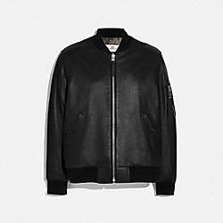 LEATHER MA-1 JACKET - F75705 - BLACK
