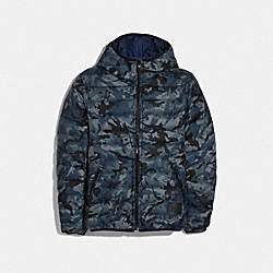 COACH F75748 Reversible Down Jacket With Hood BMC/OCEAN BLU