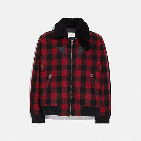 COACH F75749 WOOL BOMBER WITH SHEARLING COLLAR RED PLAID