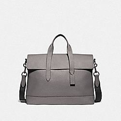 COACH F75757 - HAMILTON PORTFOLIO BRIEF HEATHER GREY/BLACK ANTIQUE NICKEL