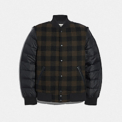PLAID PUFFER VARSITY JACKET - F75764 - GREEN PLAID